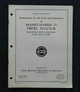 GENUINE 1954 MASSEY HARRIS 33 DIESEL TRACTOR PSB FUEL INJECTION OPERATORS MANUAL