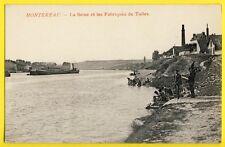 CPA France 77 - MONTEREAU La SEINE Les FABRIQUES de TUILES Péniches Lavandières