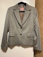 Ted Baker Womens Wool Blazer sz 4, botton -up Jacket Gray Striped US 10, Lined