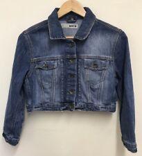 Topshop Moto Womens Blue Cropped Denim Jacket Size 12UK