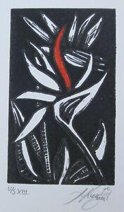 "LYNN KEATING AUSTRALIAN LINOCUT ""BIRD OF PARADISE FLOWER"" 2014"