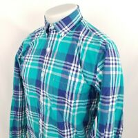 J Crew Button Down Shirt Sz Small L/S Blue Plaid Check Cotton Lightweight A41-06