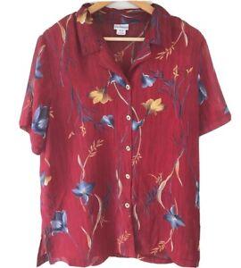 Vintage Liz Jordan Floral Button Uo Shirt Womans Size 16