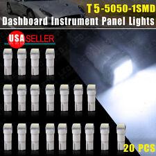 20xT5 5050 1SMD Cool White 58 70 73 74 Dashboard Gauge LED Wedge Lamp Bulb Light