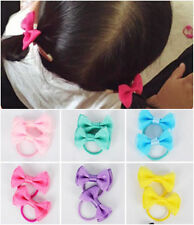 10PCS/5 Pairs Baby Girl's Mixed Colors Mini Hair Bow Ponytail Holder Rubber Band