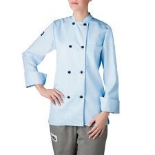 New Chefwear Women's Long Sleeve Plastic Button Chef Coat/ Jacket Light Blue