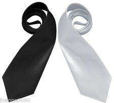UNISEX BLACK OR WHITE GANGSTER BLUES BROTHERS TIE FANCY DRESS COSTUME ACCESSORY