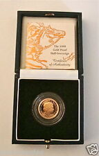 1999 ROYAL MINT ST GEORGE SOLID 22K GOLD PROOF HALF SOVEREIGN COIN BOX COA