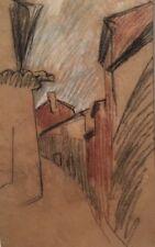 """Aug.CHABAUD (1882-1955) """" Rue"""" Dessin cray.couleur/papier de boucherie.v337"""