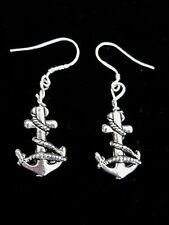 Silvertone Boat Anchor Earrings on Sterling Silver Ear Wires - Handmade