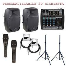 IMPIANTO KARAOKE 822 PACK kit impianto coppia casse mixer microfoni supporti