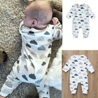 Newborn Infant Baby Kid Boys Girls Clouds Print Rompers Jumpsuit Outfits Clothes