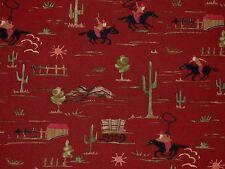 Mill Creek RUSSET Cowboy Western Chuck Wagon Cactus Cotton Drapery Fabric BTY