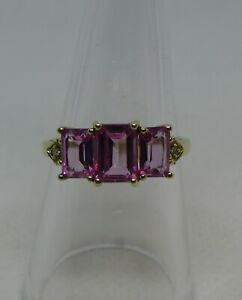 9ct Gold, Pink Tourmaline & Diamond ring   O   (7 1/4)   2.5gms