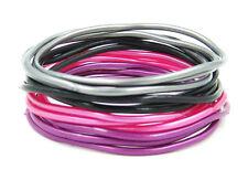"24 High Quality XL 3"" Diameter Metallic & Black Jelly Bracelets #B1117-24"
