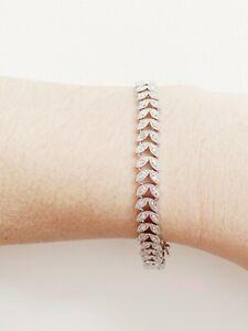 NEW!! Pretty 1 Carat Diamond Petal Bracelet In Platinum Overlay, 7 Inches