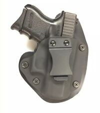 "Glock 26/27 IWB Hybrid Holster, Black Kydex, black leather, 1.5"" Belt, RH"