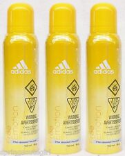 3 Adidas FREE EMOTION Body Spray Deodorant For Women