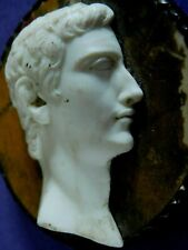 ANTIQUE CARVED PORTRAIT CAMEO ON MARBLE PLAQUE