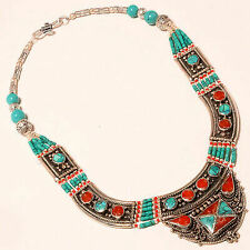 "Tibetan Turquoise Red Coral Handmade Gemstone Fashion Nepali Necklace 18"" NN-226"