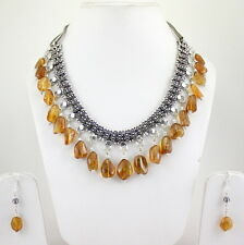 Necklace Earrings Natural Citrine Gemstone Semi Precious Stone Beads Jewelry