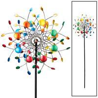 Colorful Kaleidoscope Wind Spinner Garden Lawn Yard Wheel Iron Stake 4 ft. tall