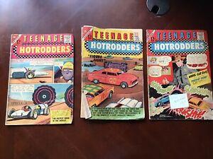 1960's Charlton Comics Teenage Hotrodders Lot of 3 Volume 1 - #10, #12 & #16