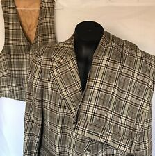 Johnny Carson 3 Piece Suit Plaid Tweed? Pants Vest Jacket Vintage Mens 42/44