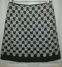 Boden Skirt Black Off White Floral Textured Cotton Knee Length US 6 Excellent