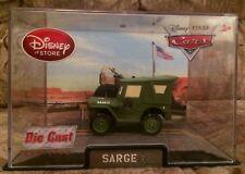 DISNEY Store CARS Original Sarge Jeep Die cast 1:43 NEW in Case