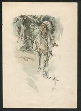 1906 Harrison Fisher Native American Scene Watercolor Artist Signed Print