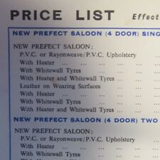 FORD PREFECT Saloon Single Two Tone Paint Heater Whitewall Tyres Price List 1959