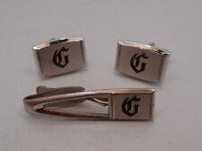 "Hickok Mens Letter Initial ""G""  Vintage Cufflinks & Tie Bar Clip Set TB13"