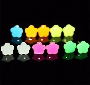12 pairs Women Alloy Neon Ear Stud Glow In Dark Fashion Jewelry Earrings