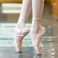 Sansha Ballet Pointe Shoes Satin Upper With Ribbon Women Pink Dance Toe Shoes