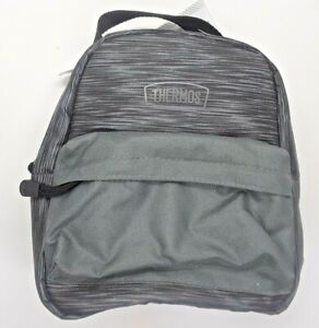 """Thermos Lunch Bag """"BPA&PVC Free"""" Insulated Lunch Box Grey And Black 2 Pockets"""
