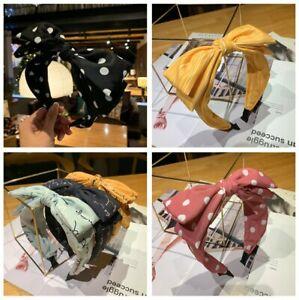 New Women's Headband Twist Band Dot Letter Stripes Butterfly Bow Headwear UK