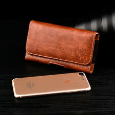 BROWN XL LEATHER BELT CLIP HOLSTER FOR iPHONE 6 6s 4.7 INCH W HYBRID CASE ON
