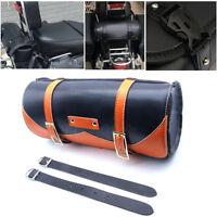 Black PU Leather Motorcycle Saddlebag Roll Barrel Front Fork Tool bag for Harley