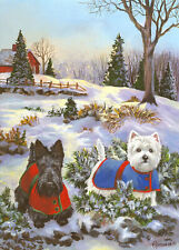 "Precious Pet Garden Flag - Scottie & Westie Tree 12"" x 18"" ~ Charity!"