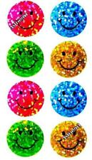 ~ Sparkle Happy Smiley Faces Green Pink Blue Hambly Studio Glitter Stickers ~