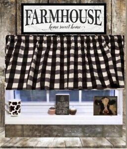 "Farmhouse, Black and White Buffalo, Check, Curtain Valance 42""W x15""L, Country"