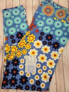 NEW LuLaRoe TC2 Leggings Solid Blue Multi Color Floral Medallion