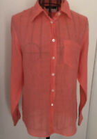 Ladies MAX MARA 100% Linen Peach Long Sleeved Shirt Small 8 10