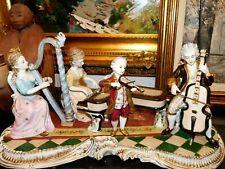 Magnificent Estate Rare Dresden Collection Porcelain Musicians Sculpture Signed