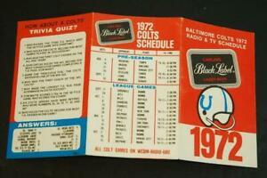 1972 Baltimore Colts NFL Football Schedule Carling Black Label Beer