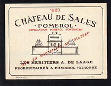 POMEROL ETIQUETTE CHATEAU DE SALES 1960 73 CL RARE   §01/11§