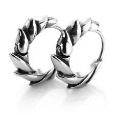 MENDINO Men's Women's Stainless Steel Earrings Round Dragon Hoop Huggie Silver