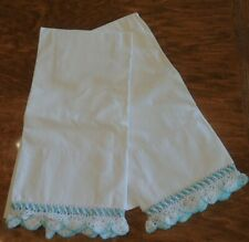 New listing Pair Vintage Hand Crocheted Aqua Lace White Cotton Pillowcase Cottage Beachy