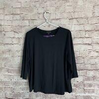 J. Jill Women's Large L Black Wearever Collection Stretch Top Long Sleeve